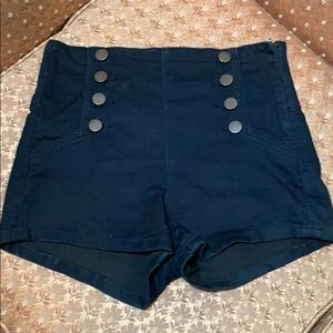 Ladies high waisted navy denim shorts